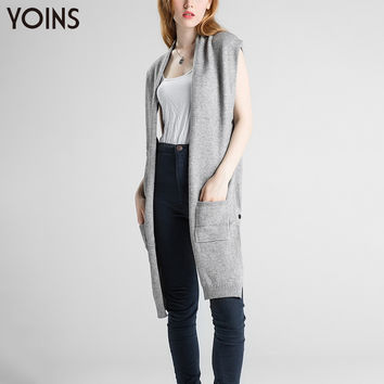YOINS 2016 New High-low Hem Knitted Cardigan Long Vest Fashion Irregular Patchwork Women Overcoat Casual Was Thin Sweater Gilets