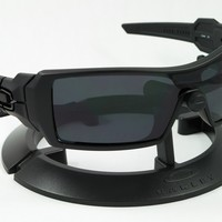 OAKLEY OIL RIG MATTE BLACK FRAME / REVANT STEALTH BLACK POLARIZED CUSTOM LENSES