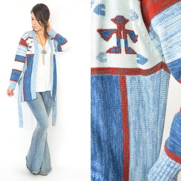 vintage 1970s SPACE DYE bohemian hippy ethnic CARDIGAN wrap sweater, extra small-small