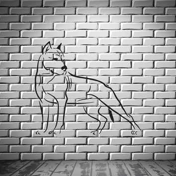 Dog Pitbull Predator AggressiveTribal Decor Wall MURAL Vinyl Art Sticker Unique Gift z787