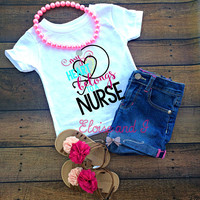 baby gift for nurse, nurse baby clothes, nurse gift, baby girl coming home outfit, newborn take home oufit, my heart belongs to a nurse