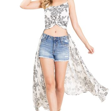 Floral Trace High-Low Top