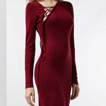 Red Lace Up Front Long Sleeve Knitted Mini Dress