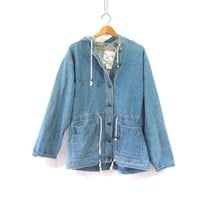 vintage 80s oversized denim jean jacket coat / hooded light wash coat / women's size M