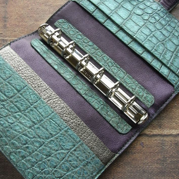 leather binder, verdigris crocodile, metallic green blue, antique emerald, planner binder, leather planner, handstitched