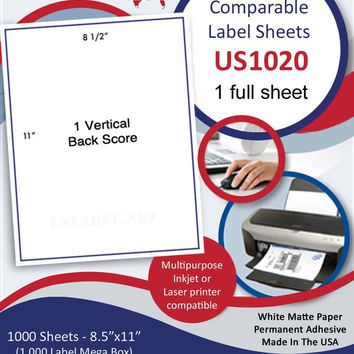 US1020-8 1/2'' x 11'' - Comparable 8165 -1,000 label sheets