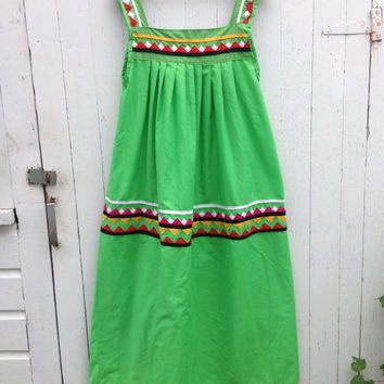 Vintage Lime Green fiesta Maxi Dress Hippie Boho Festival Frida Kahlo Costume