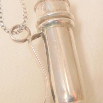 Fabulous unique sterling flask with bubble blowing wand Necklace