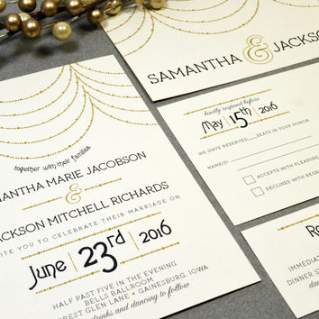 Hanging Lights Wedding Invitations Roaring Twenties Invite Set Gold and Black Pocket Suite RSVP Postcard Art Deco Wedding Invitation Vintage