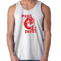 Pugs Not Drugs Red For Mens Tank Top **