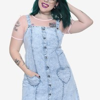 Blackheart Heart Pocket Acid Wash Overall Dress Plus Size