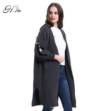 Women Cardigans Sleeve Split Long Cashmere Jumper V neck Knitted Wear Spring Poncho Sweaters