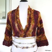 Short Hand Knit Sweater Shrug with shrug pin, brown and yellow layering shrug