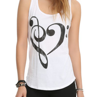 Music Clef Heart Girls Tank Top