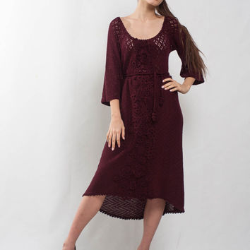 Marsala Crochet dress KNIT cocktail mini Dress lace viscose dress prom Crochet wine Dress evening dress bordeaux Dress irish lace Dress