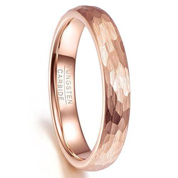 Nuncad Tungsten Ring 4mm Hammered Finish Rose Gold Plated Wedding Band for Men for Women Comfort Fit Size 510