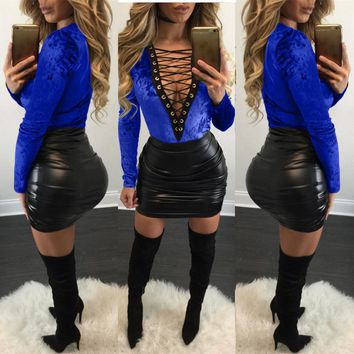 Pure Color Straps Crop Top with Bodycon Skirt Two Pieces Dress Set