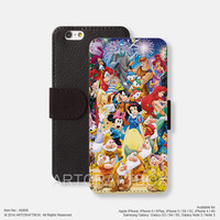 Characters Disney Princess iPhone Samsung Galaxy leather wallet case cover 808