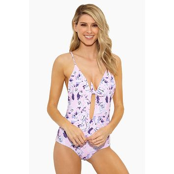 Midnight In Paris Front Knot Tie One Piece Swimsuit - Pink Paisley Print