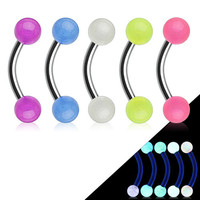 Glow in the Dark Balls Eyebrow Rook Daith Stainless Steel Body Jewelry