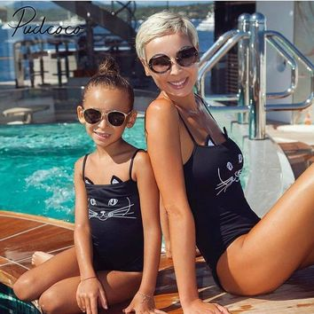 2018 Summer Mommy & Me Girls Adorable Cat Face One Piece Swimsuit