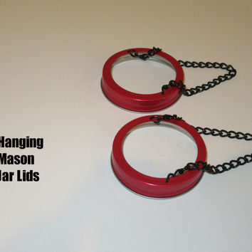 Set of 2 - Red (W/Black Chain) Hanging Mason Jar Lids - wedding garden outdoor - Lantern Tea Light Luminaries - (2 Hanging Lids)