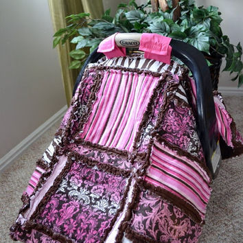 KIT Car Seat Tent Pink Brown Rag Quilt by avisiontoremember