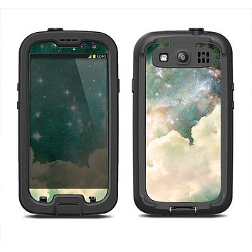 The Cloudy Grunge Green Universe Samsung Galaxy S3 LifeProof Fre Case Skin Set