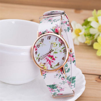 Womens Girls Retro Casual Sports Watches Floral Leather Strap Watch + Beautiful Gift Box