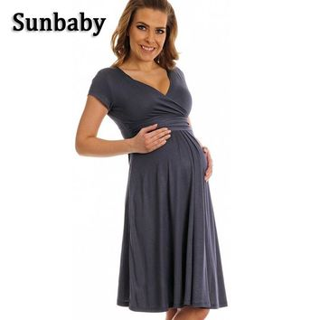 2017 Summer Fashion Maternity Clothes vestidos elegant Formal Solid pregnancy dress Party photography maternity dresses