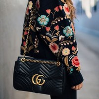 GUCCI Tide brand women's fashion wild wine god chain shoulder Messenger bag black