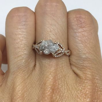 Luxinelle 1.70 Carat Raw Pink Diamond in 14K Rose Gold Ring by Luxinelle® Jewelry