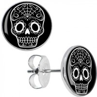 Body Candy Stainless Steel Black White Sugar Skull Art Stud Earrings