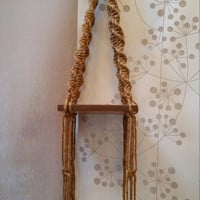 Vintage Macrame and Wood Hanging Plant Stand Shelf
