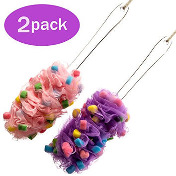 Bath Blossom Back Scrubber Brush (2 Pack) Loofah with Small Sponge and Mesh - Long Handled Shower Body Brush For Men and Women