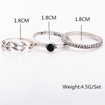 Chic Simple Metal Leaf Three-piece Combination Ring Set For Women