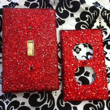Red Glitter Switchplate and Outlet Set by ArtZodiac on Etsy