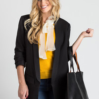 Elsie Black Shirred Sleeve Blazer