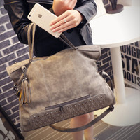 Leather Shoulder Rivets Handbag Messenger Motorcycle Crossbody Bag