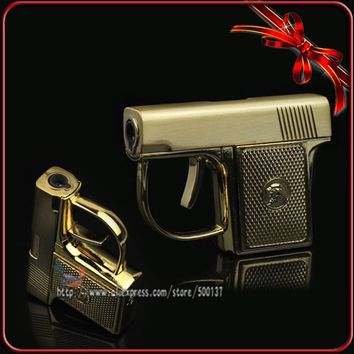Mini Novelty Metal Pistol Windproof Cigarette Cigar Gun Lighter With Box