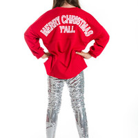 Girls Merry Christmas Y'all Loose Jersey Top, Red