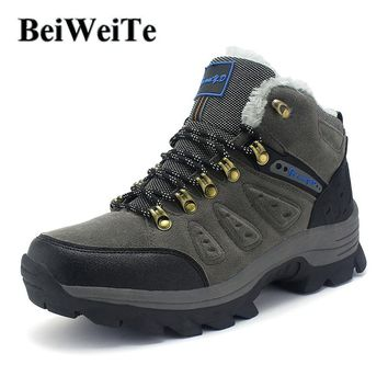 BeiWeiTe Winter Tourism Men's Hiking Boots Trekking Fur Lined Warm Sneakers For Men Trail Anti-skid Outdoor Climbing Sport Shoes