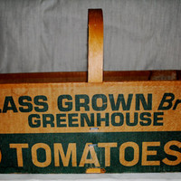 Vintage Cardboard Tomato Box with Wooden Handle