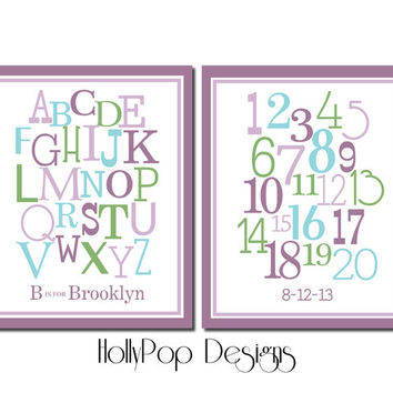Girl Nursery Decor Baby Girl Wall Art Decor Girl Wall Art Purple Teal Decor Alphabet Number Typography Duo Print Set Girls Room Art Prints