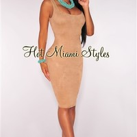 Nude Faux Suede Sleeveless Dress