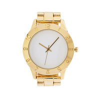 FOREVER 21 Classic Analog Watch Gold/White One