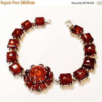 Faceted Amber Link Bracelet Center Medallion Prong Set Stones Silver Tone Vintage