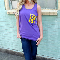 Purple + Yellow Chevron Pocket Tank | The Rage
