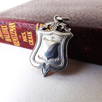 Vintage British Watch Fob in Sterling Silver 1920 Pendant, Man Gift, Halmarked Silver Male Jewelry, Baby Keepsake Gift, Silver Charm