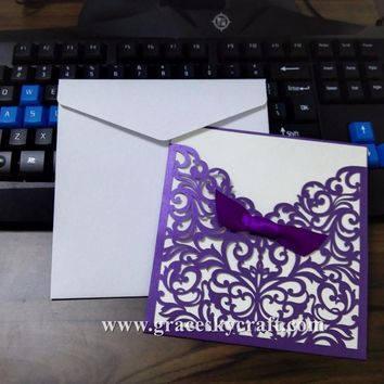 20pcs free shipping laser cut purple 23 colors flowers pocket wedding invitations cards with inner blank paper party inviting